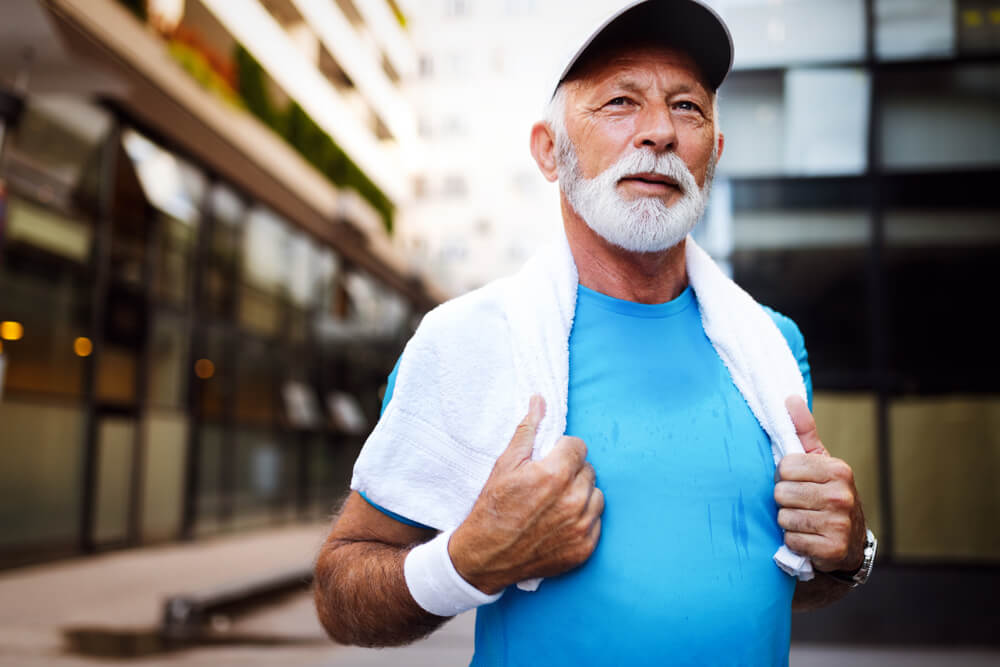 Mature man after exercizing