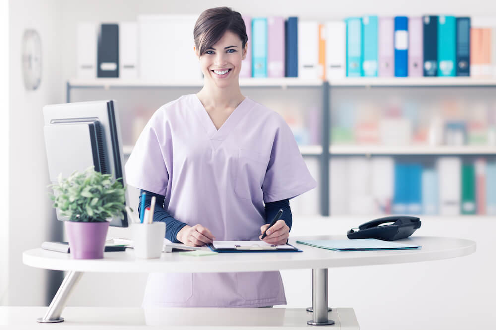 Woman at desk in medical office